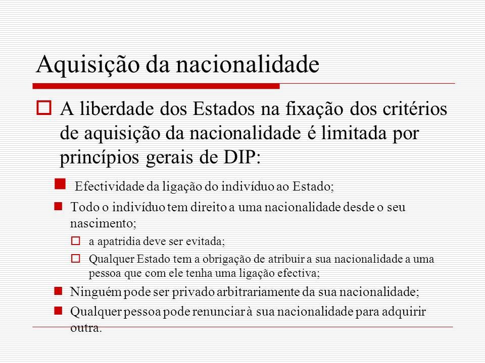 Aquisição da nacionalidade A liberdade dos Estados na fixação dos critérios de aquisição da nacionalidade é limitada por princípios gerais de DIP: Efe