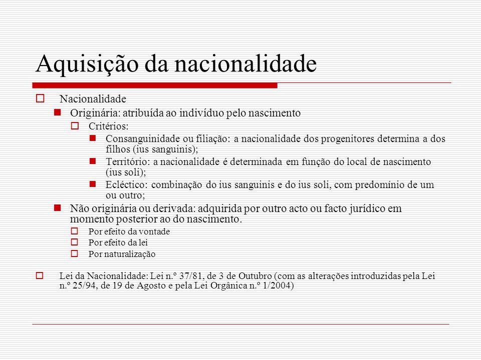 Aquisição da nacionalidade Nacionalidade Originária: atribuída ao indivíduo pelo nascimento Critérios: Consanguinidade ou filiação: a nacionalidade do