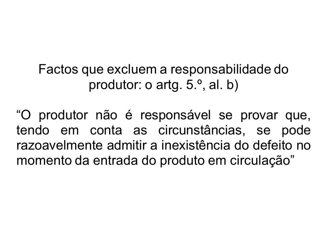 Factos que excluem a responsabilidade do produtor: o artg.