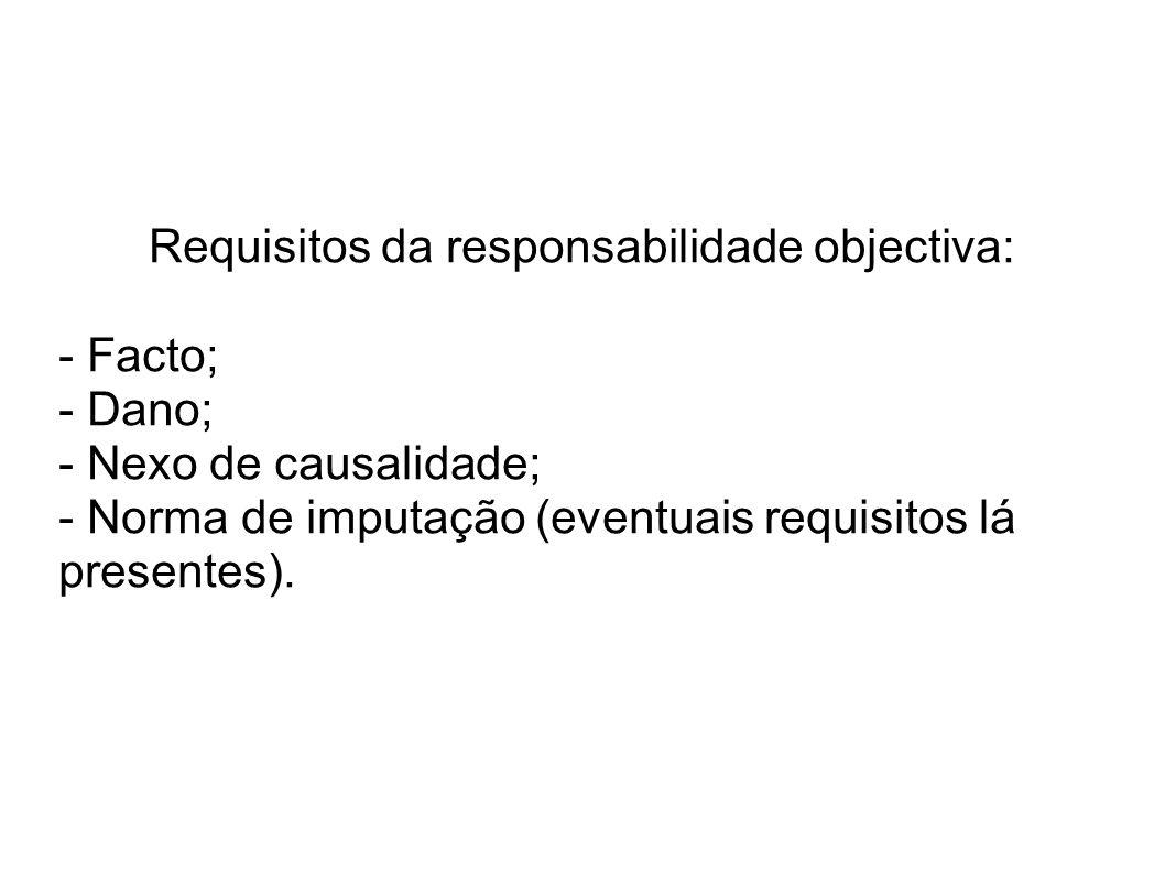 Requisitos da responsabilidade objectiva: - Facto; - Dano; - Nexo de causalidade; - Norma de imputação (eventuais requisitos lá presentes).
