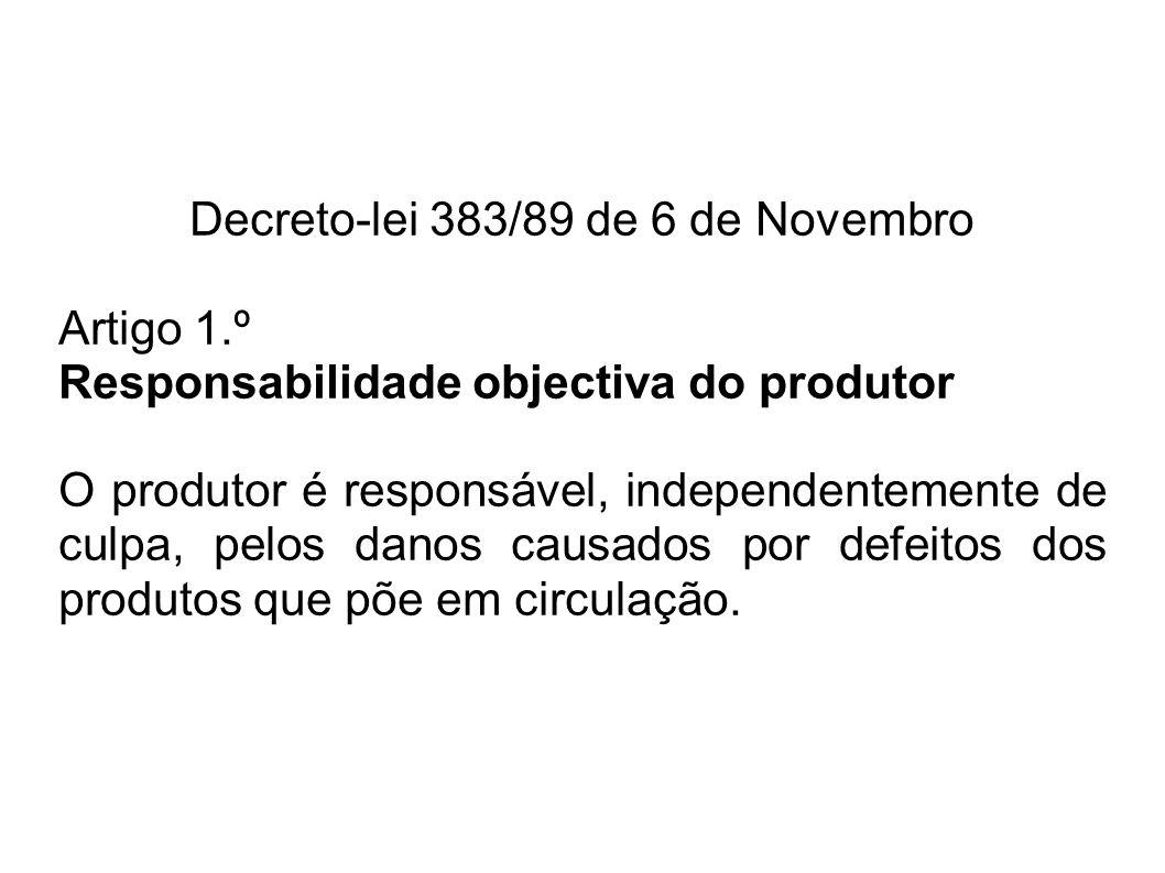 Decreto-lei 383/89 de 6 de Novembro Artigo 1.º Responsabilidade objectiva do produtor O produtor é responsável, independentemente de culpa, pelos danos causados por defeitos dos produtos que põe em circulação.