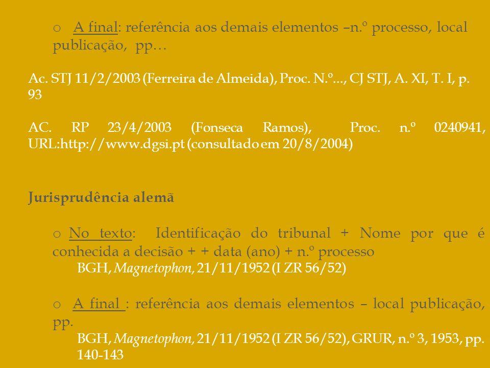 o A final: referência aos demais elementos –n.º processo, local publicação, pp… Ac. STJ 11/2/2003 (Ferreira de Almeida), Proc. N.º..., CJ STJ, A. XI,