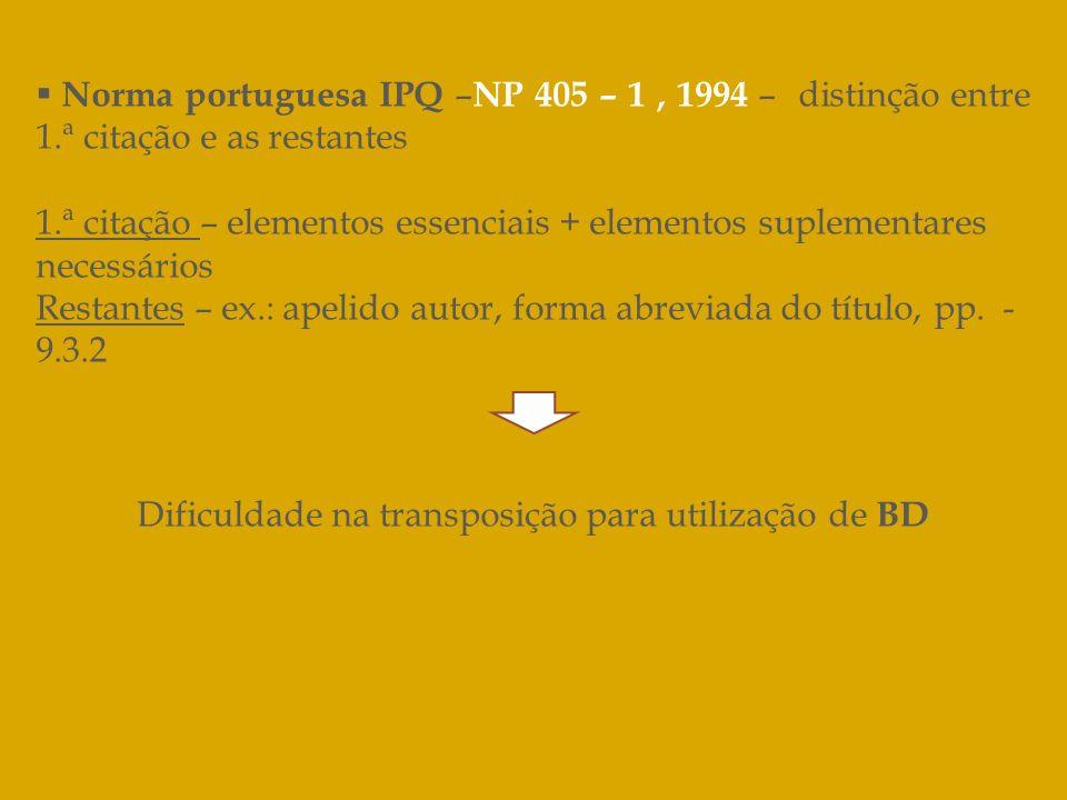 Norma portuguesa IPQ – NP 405 – 1, 1994 – distinção entre 1.ª citação e as restantes 1.ª citação – elementos essenciais + elementos suplementares nece