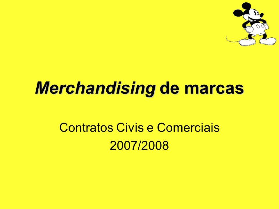 Contratos de merchandising Merchandising de marcas marca objecto do contrato é usada como marca na sua utilização secundária Utilizações primária e secundária são homogéneas – marca Distinção: produtos ou serviços marcados