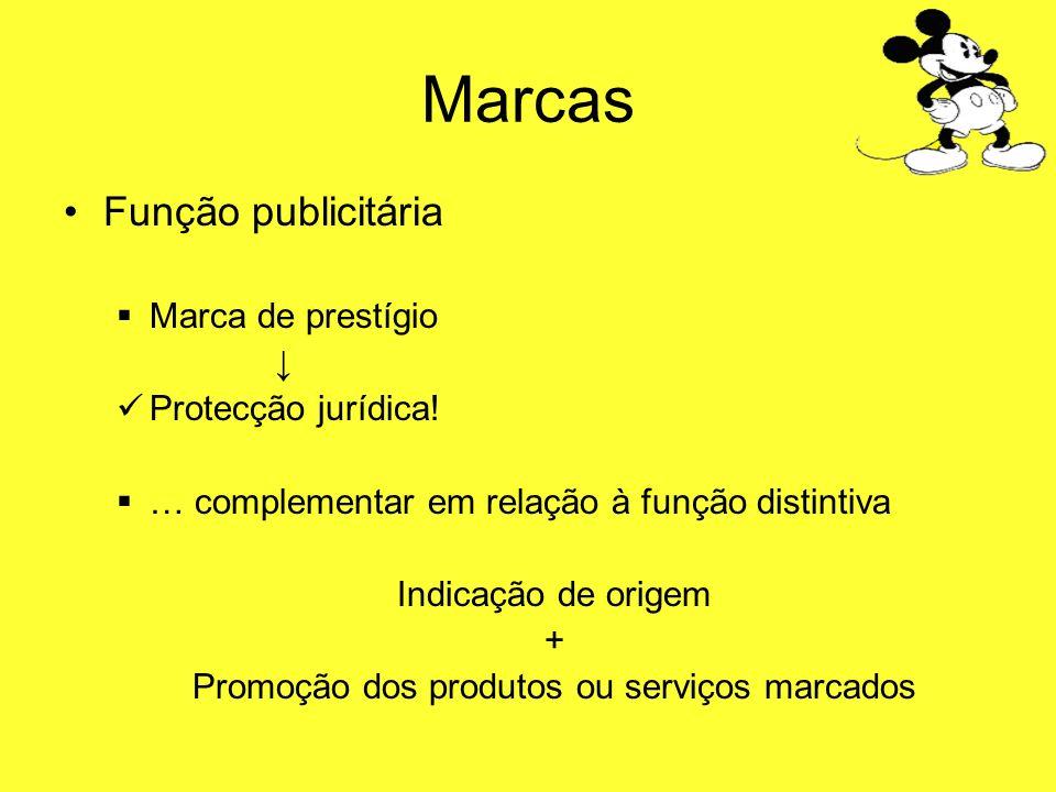 Marcas Função publicitária Marca de prestígio Protecção jurídica! … complementar em relação à função distintiva Indicação de origem + Promoção dos pro
