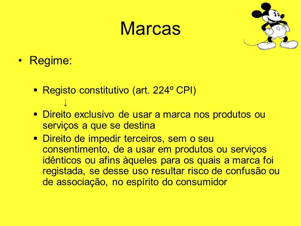 Marcas Regime: Registo constitutivo (art. 224º CPI) Direito exclusivo de usar a marca nos produtos ou serviços a que se destina Direito de impedir ter