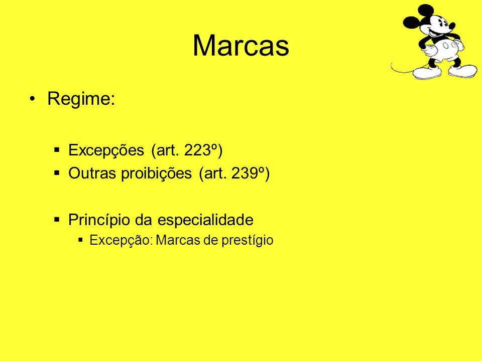 Marcas Regime: Excepções (art. 223º) Outras proibições (art. 239º) Princípio da especialidade Excepção: Marcas de prestígio