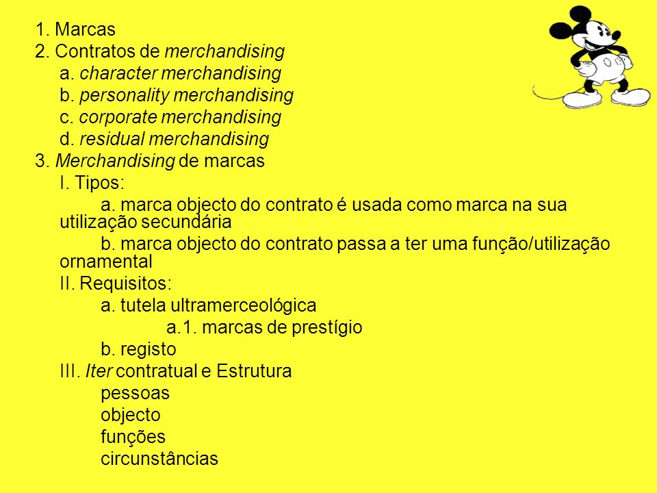 1. Marcas 2. Contratos de merchandising a. character merchandising b. personality merchandising c. corporate merchandising d. residual merchandising 3