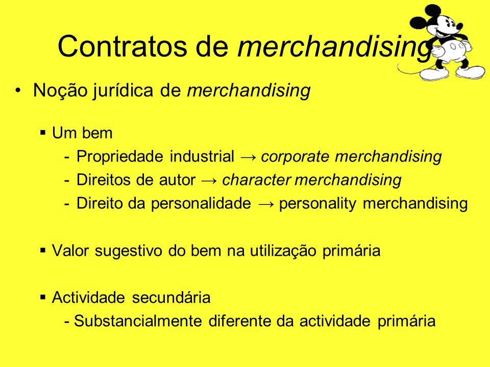 Contratos de merchandising Noção jurídica de merchandising Um bem -P-Propriedade industrial corporate merchandising -D-Direitos de autor character mer