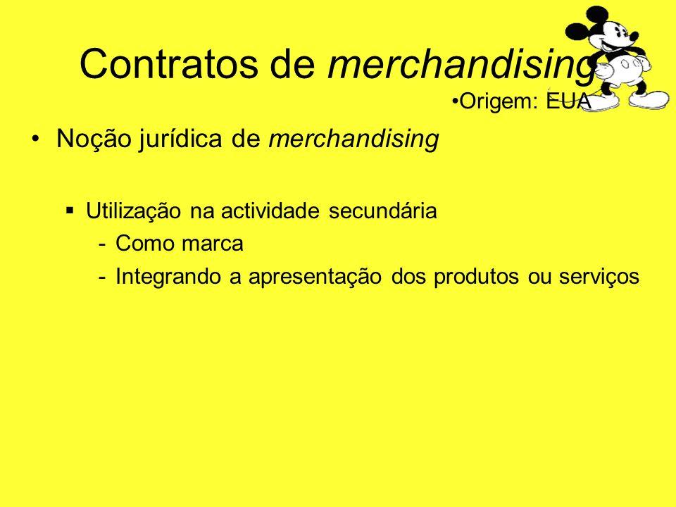 Contratos de merchandising Noção jurídica de merchandising Utilização na actividade secundária -C-Como marca -I-Integrando a apresentação dos produtos