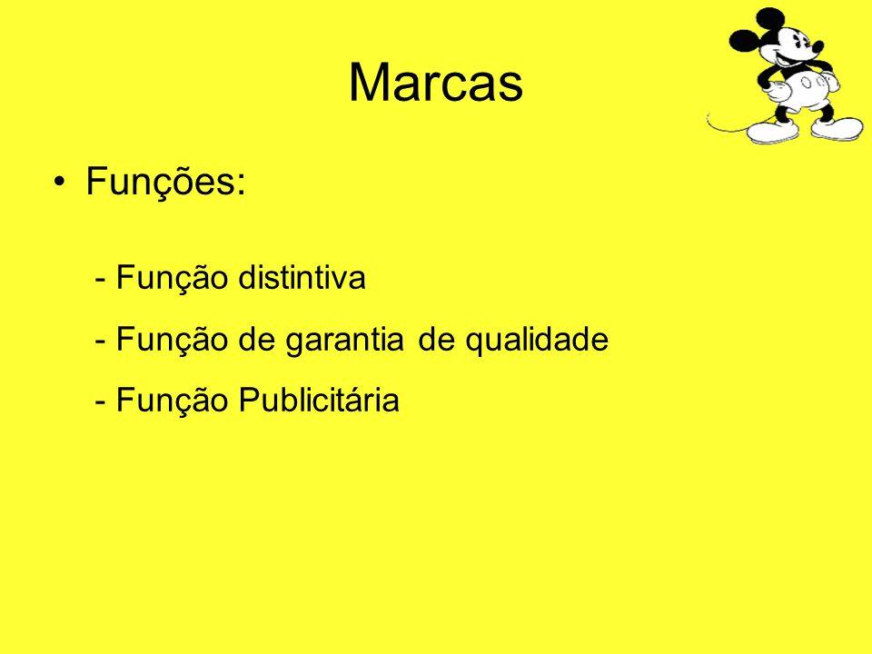 Marcas Funções: - Função distintiva - Função de garantia de qualidade - Função Publicitária