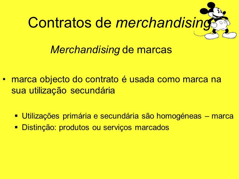 Contratos de merchandising Merchandising de marcas marca objecto do contrato é usada como marca na sua utilização secundária Utilizações primária e se