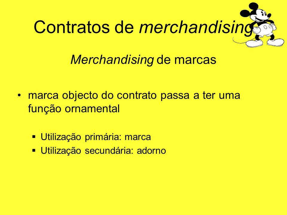 Contratos de merchandising Merchandising de marcas marca objecto do contrato passa a ter uma função ornamental Utilização primária: marca Utilização s