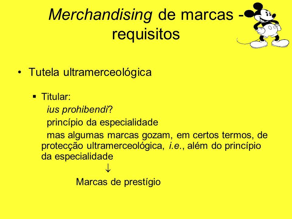 Tutela ultramerceológica Titular: ius prohibendi? princípio da especialidade mas algumas marcas gozam, em certos termos, de protecção ultramerceológic