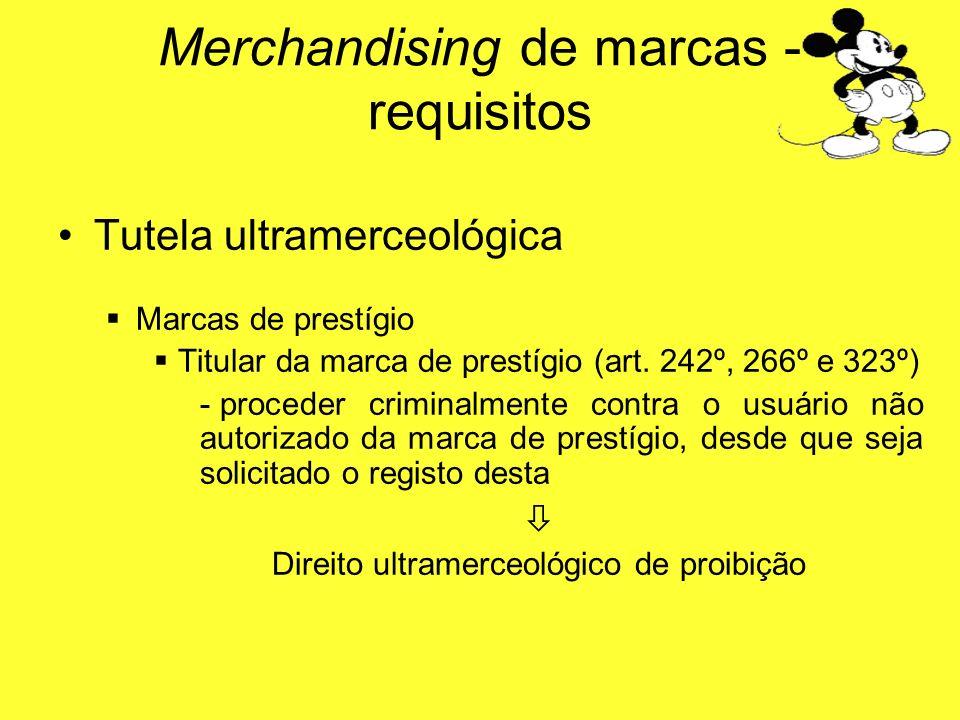 Tutela ultramerceológica Marcas de prestígio Titular da marca de prestígio (art. 242º, 266º e 323º) - proceder criminalmente contra o usuário não auto