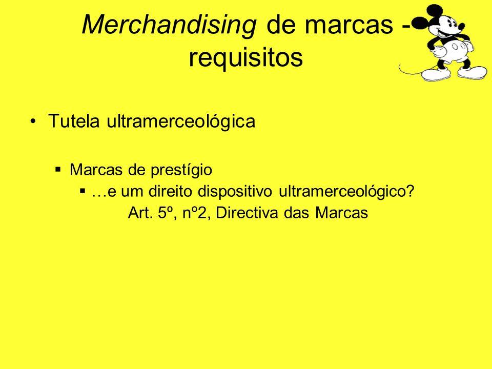 Tutela ultramerceológica Marcas de prestígio …e um direito dispositivo ultramerceológico? Art. 5º, nº2, Directiva das Marcas Merchandising de marcas -