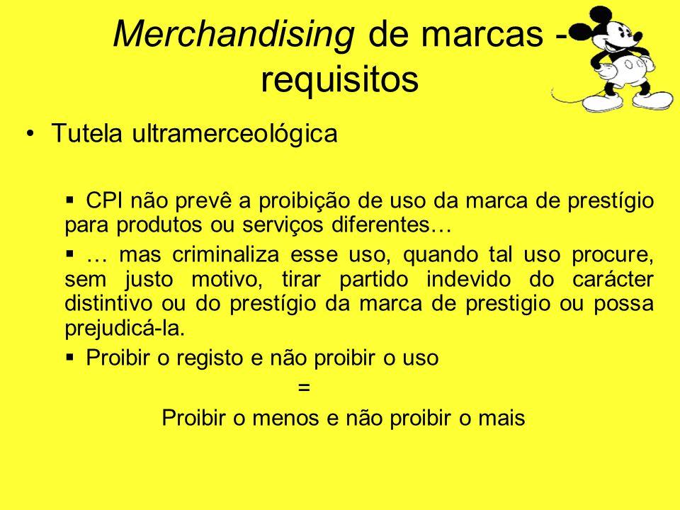 Tutela ultramerceológica CPI não prevê a proibição de uso da marca de prestígio para produtos ou serviços diferentes… … mas criminaliza esse uso, quan