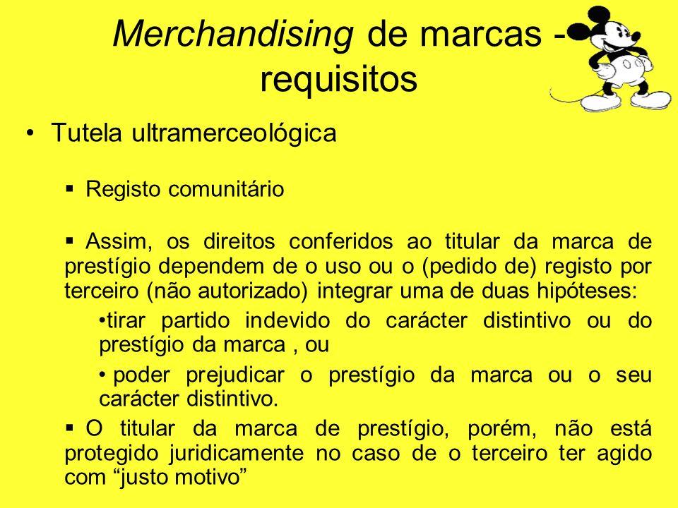 Tutela ultramerceológica Registo comunitário Assim, os direitos conferidos ao titular da marca de prestígio dependem de o uso ou o (pedido de) registo