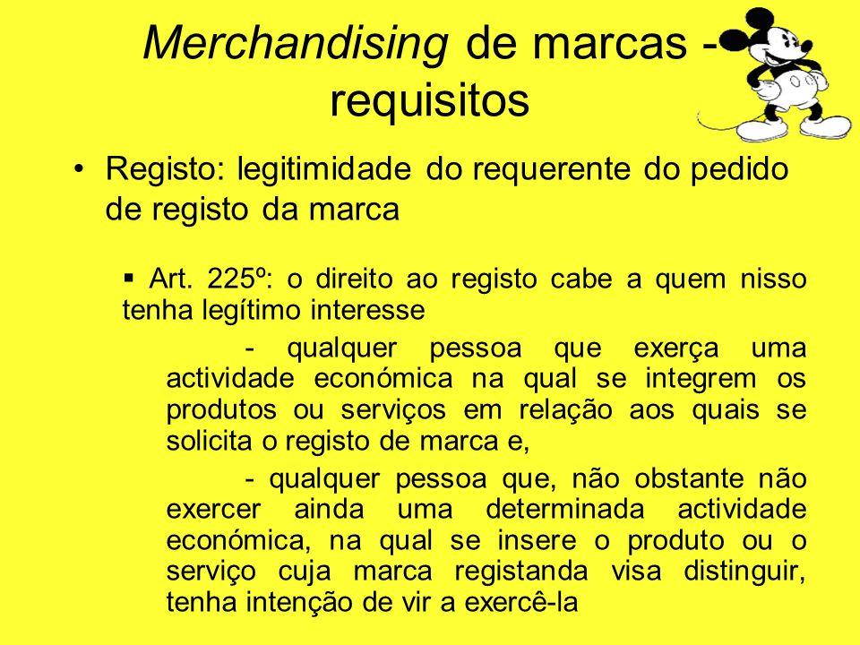Registo: legitimidade do requerente do pedido de registo da marca Art. 225º: o direito ao registo cabe a quem nisso tenha legítimo interesse - qualque