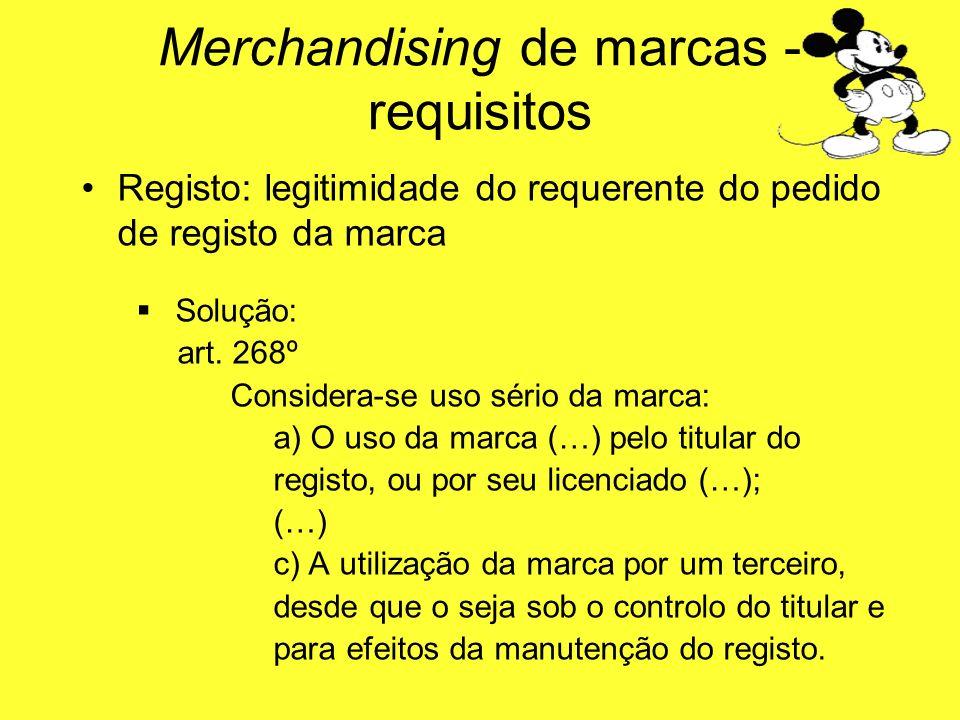 Registo: legitimidade do requerente do pedido de registo da marca Solução: art. 268º Considera-se uso sério da marca: a) O uso da marca (…) pelo titul