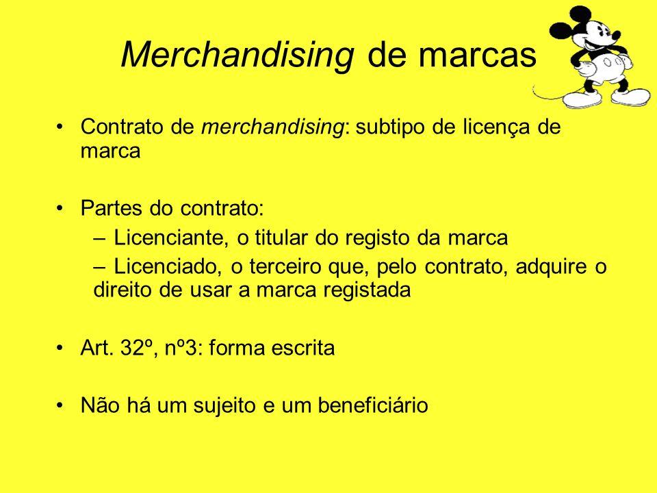 Contrato de merchandising: subtipo de licença de marca Partes do contrato: –Licenciante, o titular do registo da marca –Licenciado, o terceiro que, pe