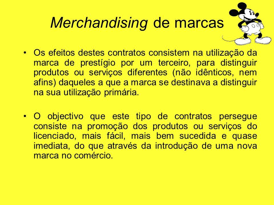 Os efeitos destes contratos consistem na utilização da marca de prestígio por um terceiro, para distinguir produtos ou serviços diferentes (não idênti
