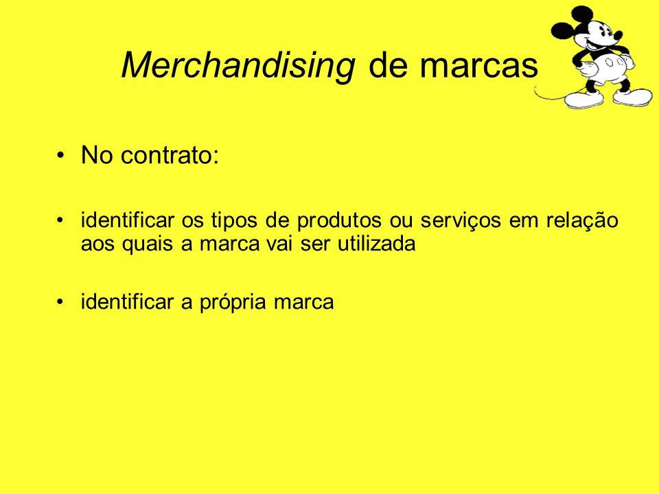 No contrato: identificar os tipos de produtos ou serviços em relação aos quais a marca vai ser utilizada identificar a própria marca Merchandising de