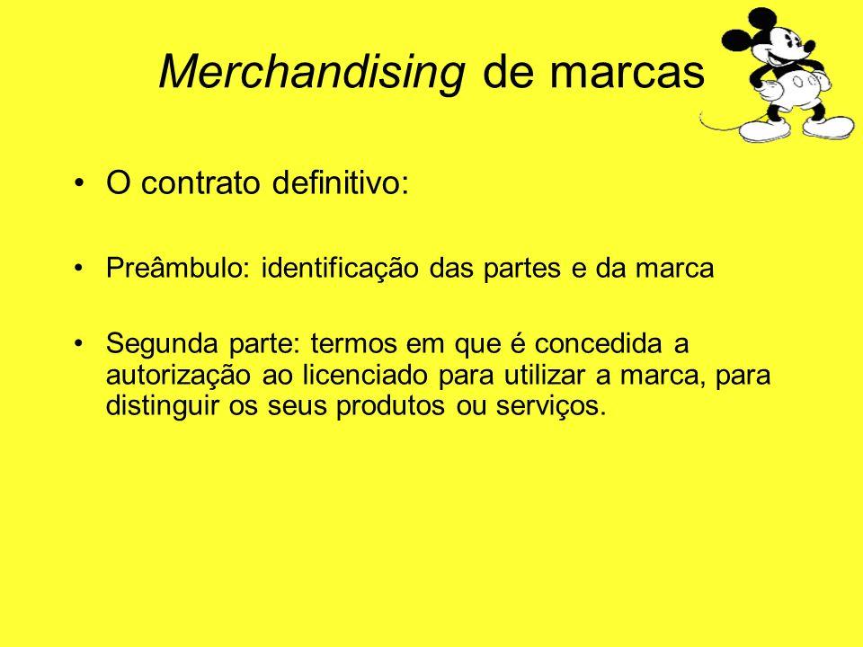 O contrato definitivo: Preâmbulo: identificação das partes e da marca Segunda parte: termos em que é concedida a autorização ao licenciado para utiliz