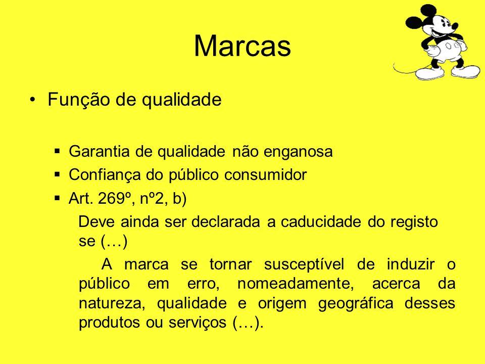 Marcas Função de qualidade …derivada da função distintiva garantia da constância qualitativa dos produtos ou serviços garantia da qualidade dos produtos ou serviços por referência a uma origem não enganosa