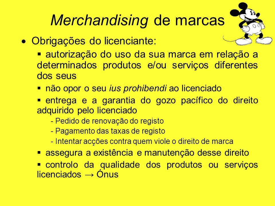 O brigações do licenciante: autorização do uso da sua marca em relação a determinados produtos e/ou serviços diferentes dos seus não opor o seu ius pr