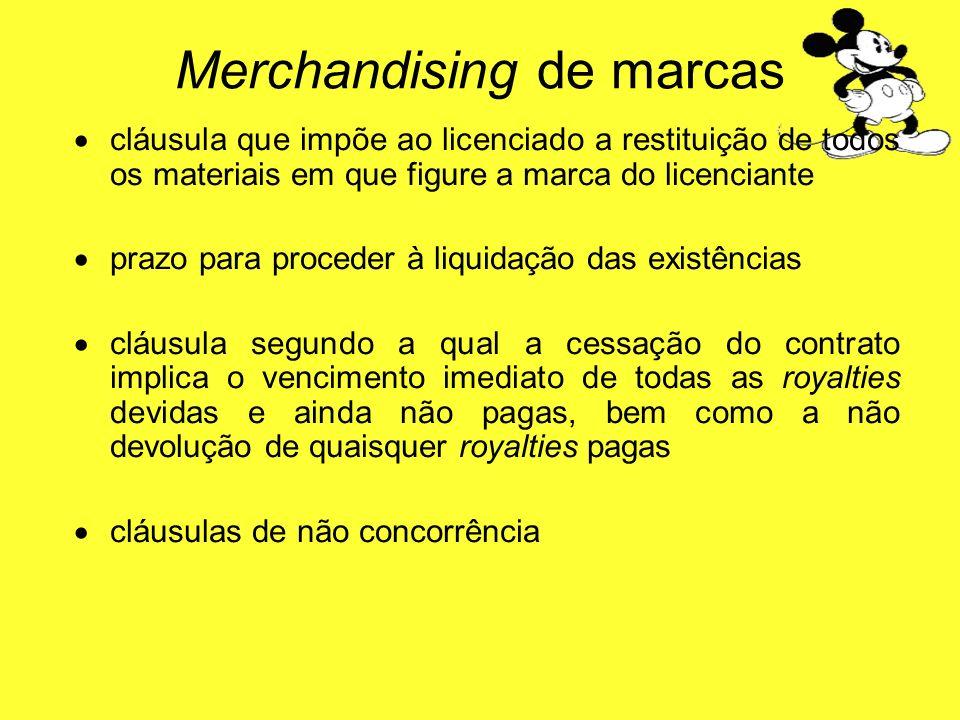 cláusula que impõe ao licenciado a restituição de todos os materiais em que figure a marca do licenciante prazo para proceder à liquidação das existên