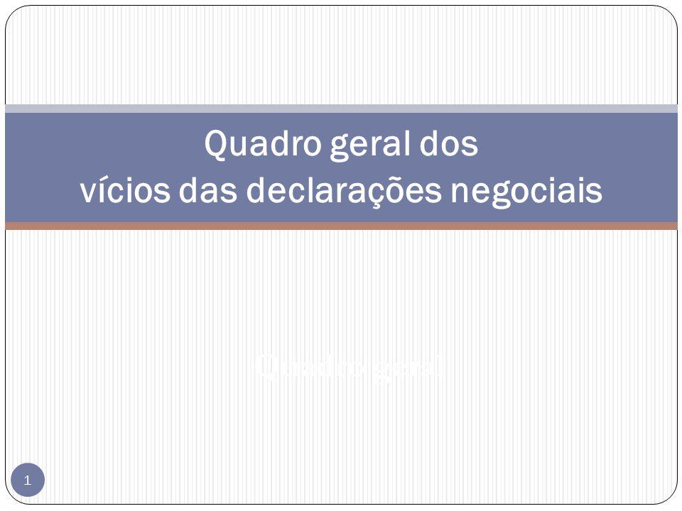 Quadro geral 1 Quadro geral dos vícios das declarações negociais