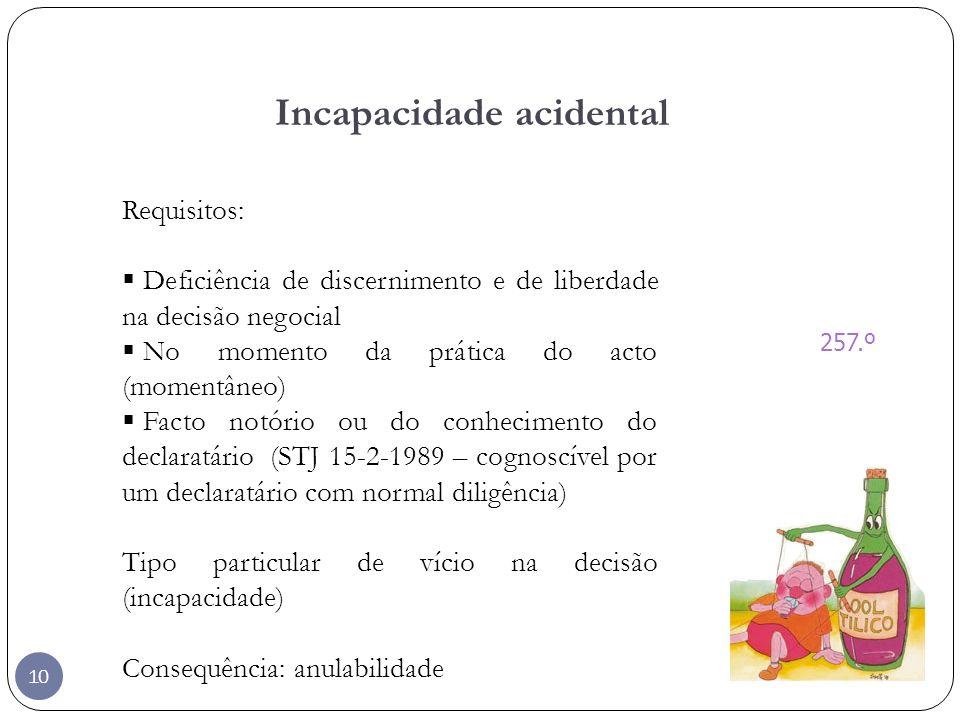 10 Incapacidade acidental 257.º Requisitos: Deficiência de discernimento e de liberdade na decisão negocial No momento da prática do acto (momentâneo)