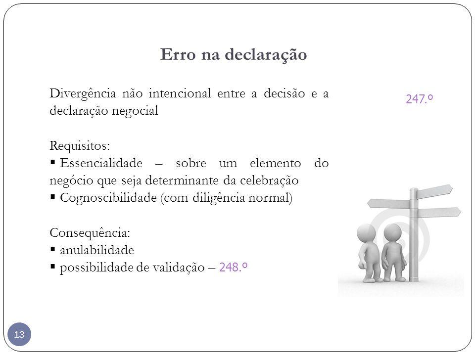 13 Erro na declaração Divergência não intencional entre a decisão e a declaração negocial Requisitos: Essencialidade – sobre um elemento do negócio qu