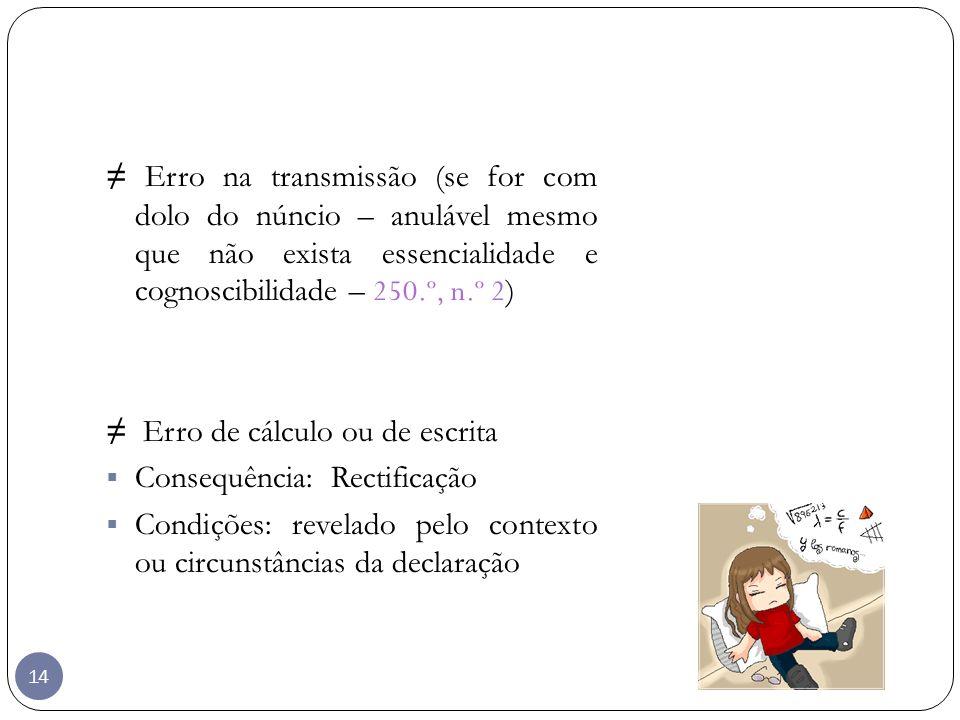 14 Erro na transmissão (se for com dolo do núncio – anulável mesmo que não exista essencialidade e cognoscibilidade – 250.º, n.º 2 ) Erro de cálculo o