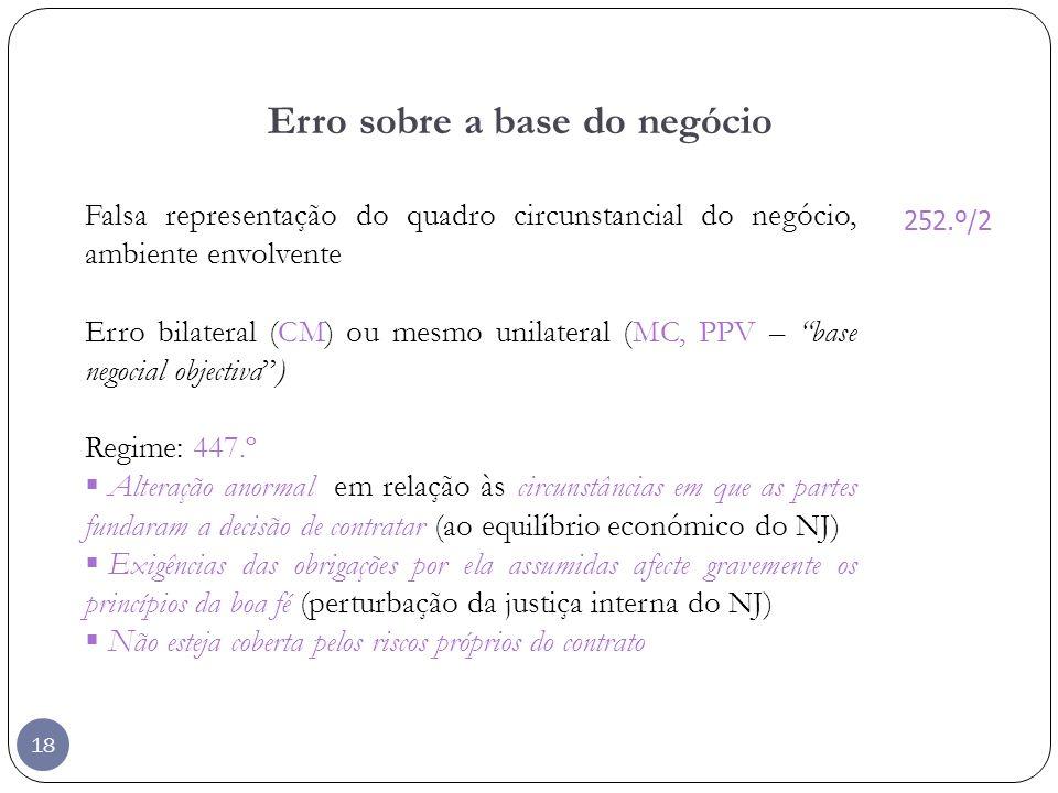 18 Erro sobre a base do negócio Falsa representação do quadro circunstancial do negócio, ambiente envolvente Erro bilateral (CM) ou mesmo unilateral (