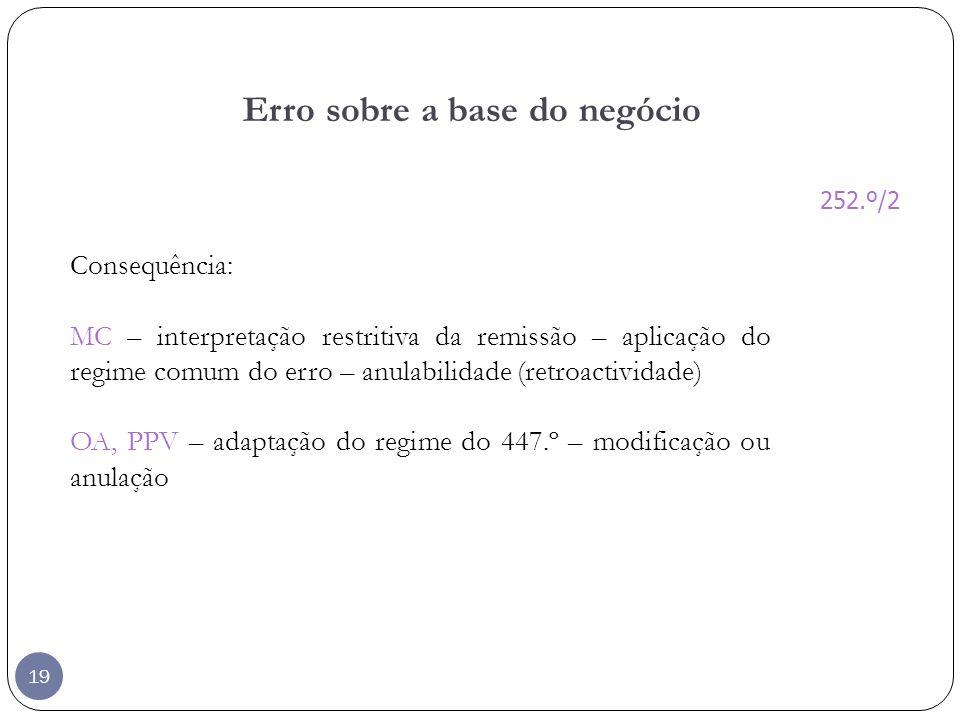 19 Erro sobre a base do negócio Consequência: MC – interpretação restritiva da remissão – aplicação do regime comum do erro – anulabilidade (retroacti