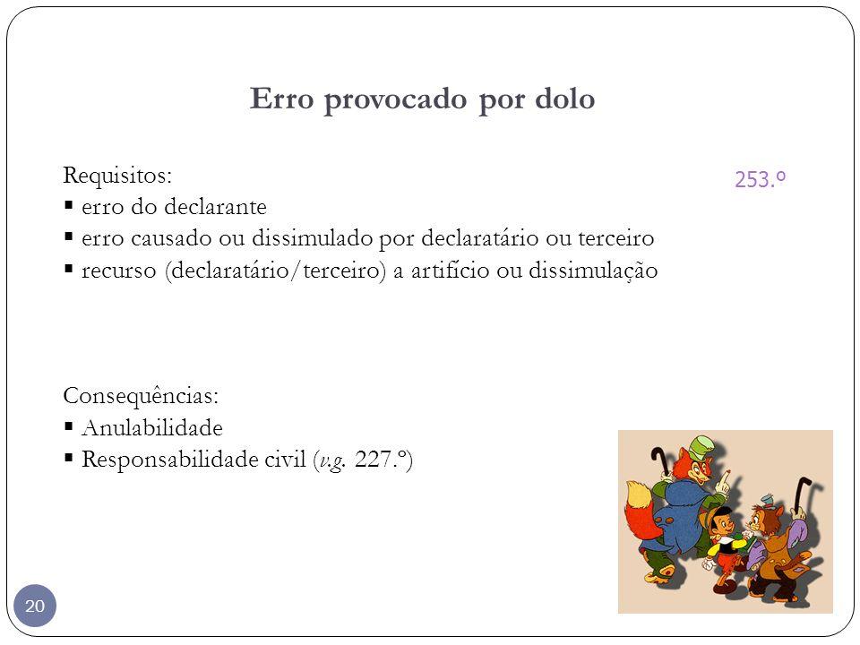 20 Erro provocado por dolo Requisitos: erro do declarante erro causado ou dissimulado por declaratário ou terceiro recurso (declaratário/terceiro) a a