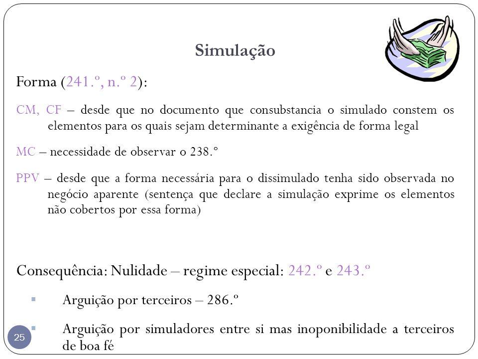 25 Simulação Forma (241.º, n.º 2): CM, CF – desde que no documento que consubstancia o simulado constem os elementos para os quais sejam determinante