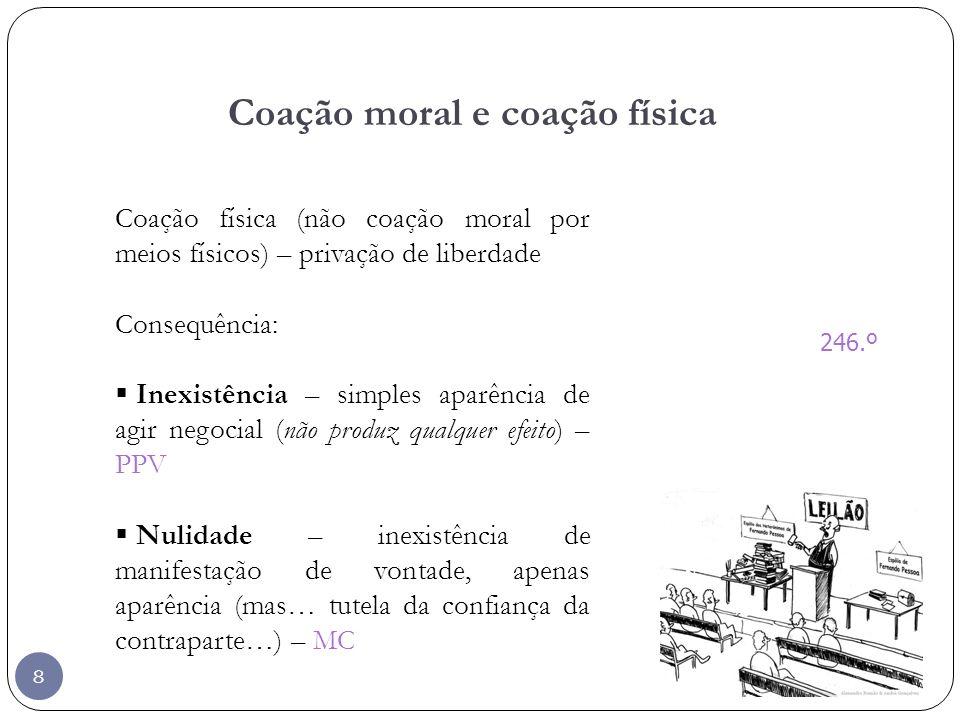 8 Coação moral e coação física 246.º Coação física (não coação moral por meios físicos) – privação de liberdade Consequência: Inexistência – simples a