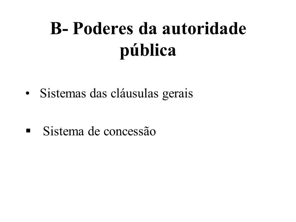 B- Poderes da autoridade pública Sistemas das cláusulas gerais Sistema de concessão