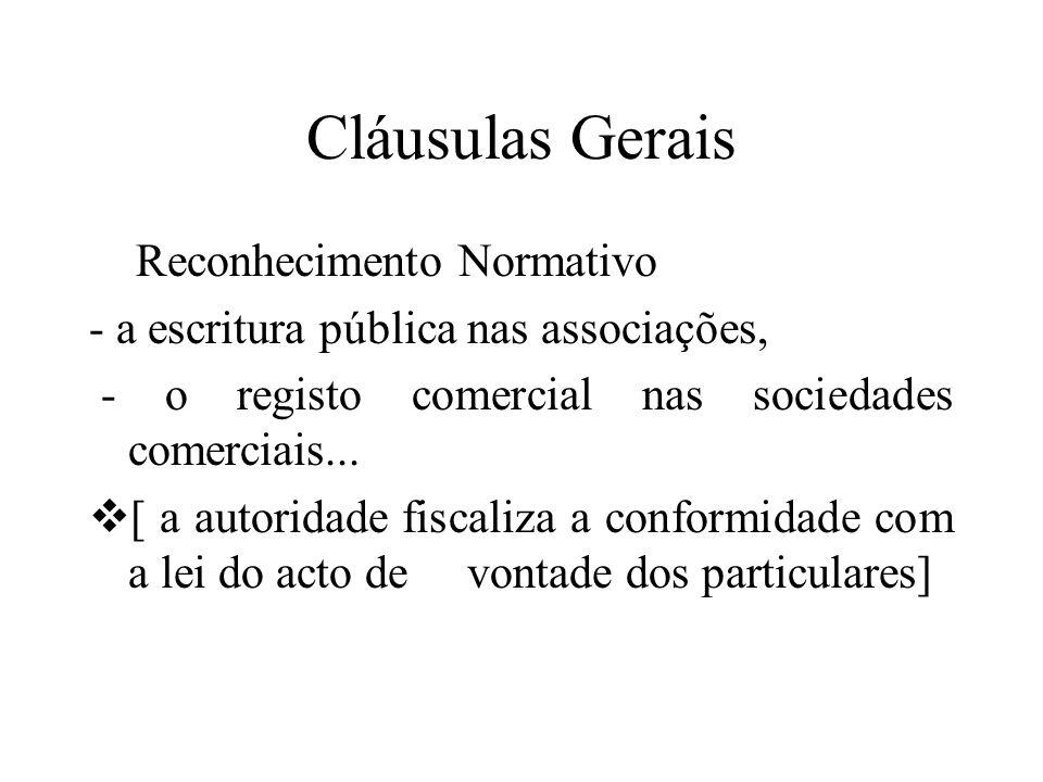 Cláusulas Gerais Reconhecimento Normativo - a escritura pública nas associações, - o registo comercial nas sociedades comerciais... [ a autoridade fis