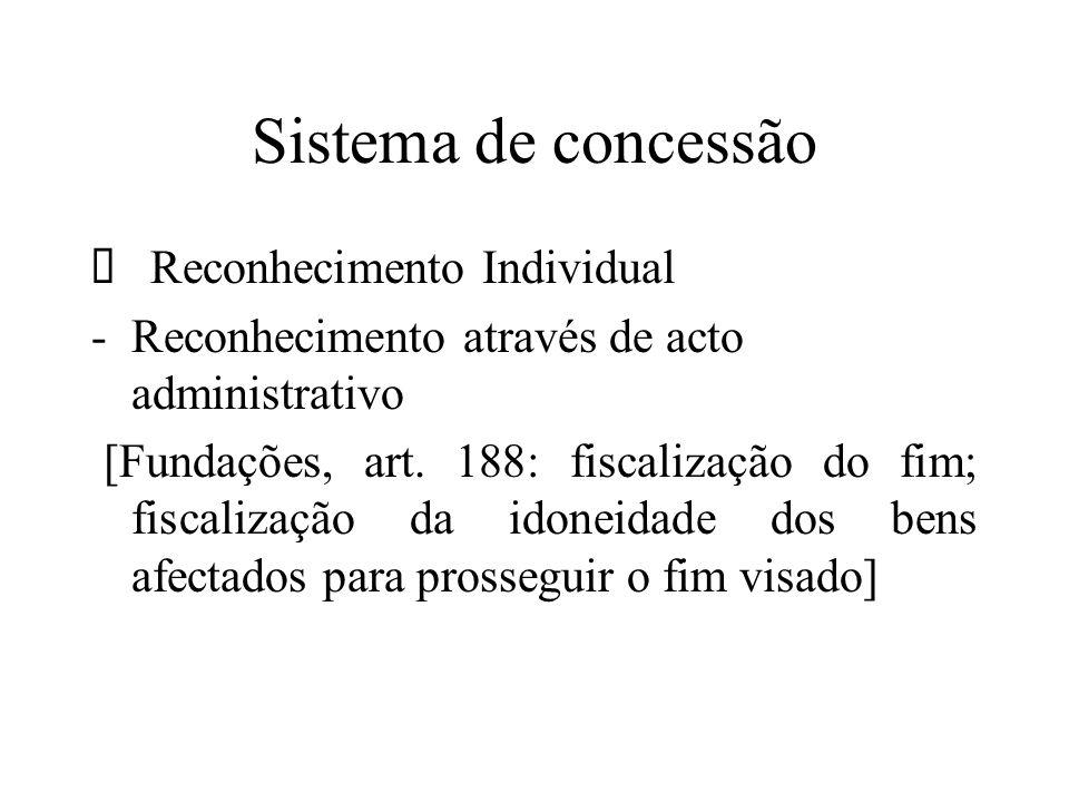 Sistema de concessão Reconhecimento Individual -Reconhecimento através de acto administrativo [Fundações, art. 188: fiscalização do fim; fiscalização