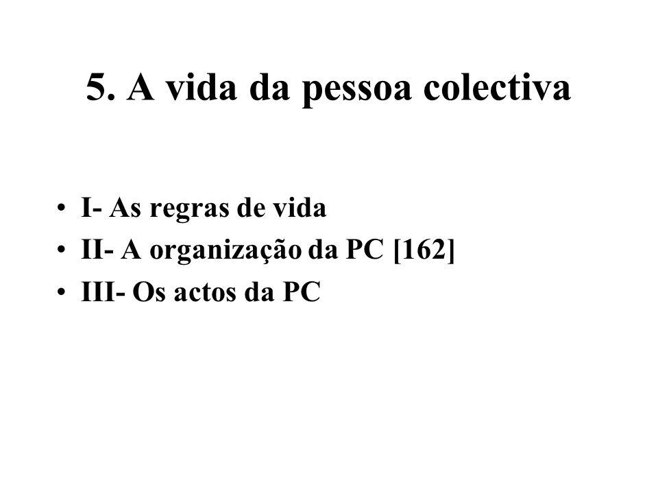 5. A vida da pessoa colectiva I- As regras de vida II- A organização da PC [162] III- Os actos da PC