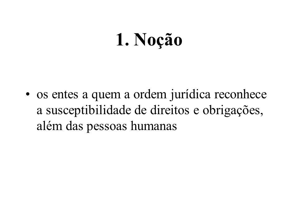 1. Noção os entes a quem a ordem jurídica reconhece a susceptibilidade de direitos e obrigações, além das pessoas humanas
