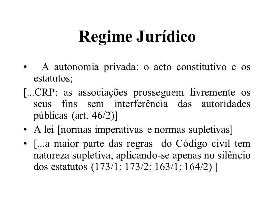 Regime Jurídico A autonomia privada: o acto constitutivo e os estatutos; [...CRP: as associações prosseguem livremente os seus fins sem interferência