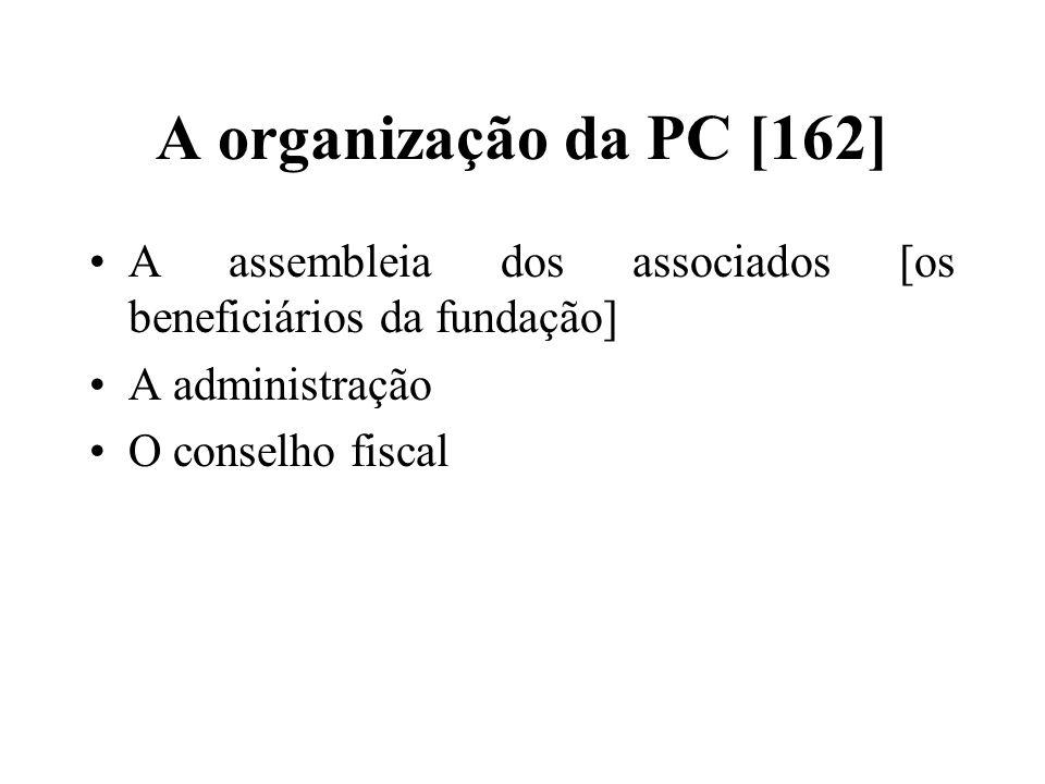 A organização da PC [162] A assembleia dos associados [os beneficiários da fundação] A administração O conselho fiscal