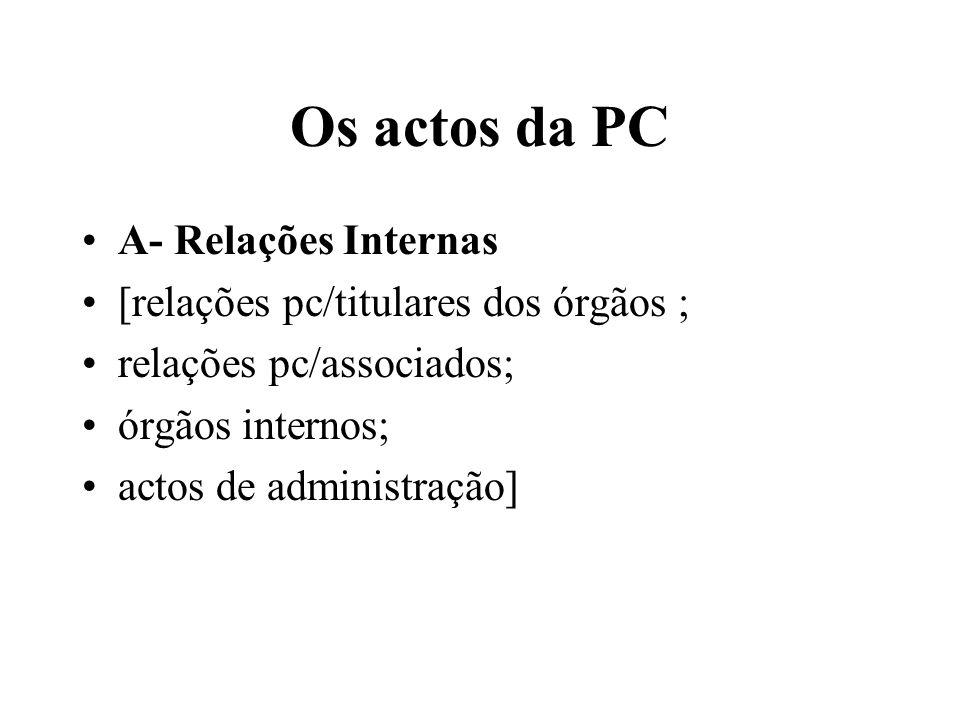 Os actos da PC A- Relações Internas [relações pc/titulares dos órgãos ; relações pc/associados; órgãos internos; actos de administração]