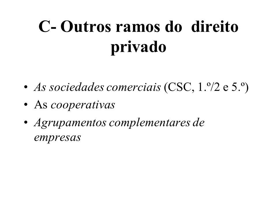 C- Outros ramos do direito privado As sociedades comerciais (CSC, 1.º/2 e 5.º) As cooperativas Agrupamentos complementares de empresas
