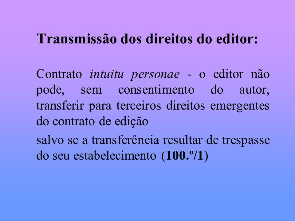 Transmissão dos direitos do editor: Contrato intuitu personae - o editor não pode, sem consentimento do autor, transferir para terceiros direitos emer